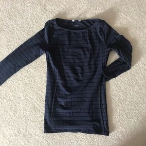 3-Q Sleeve Navy and Black Striped Top